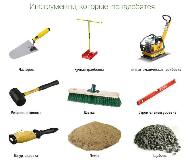 инструменты для укладывания брусчатки